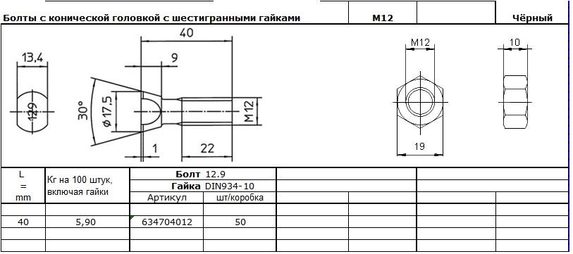 БОЛт М12,6