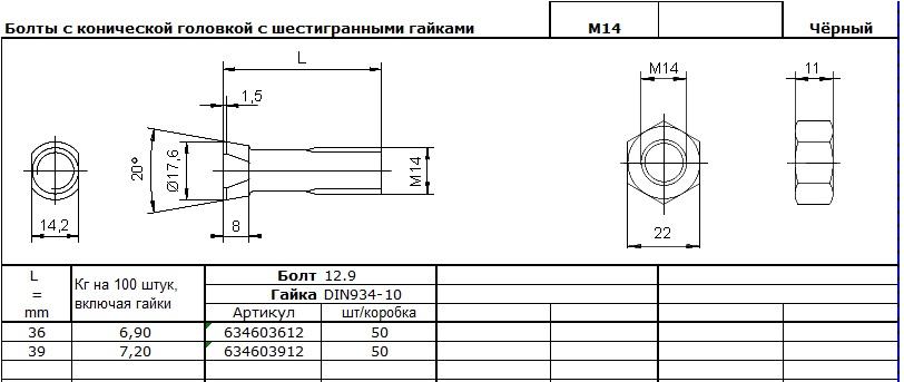 БОЛт М14,3
